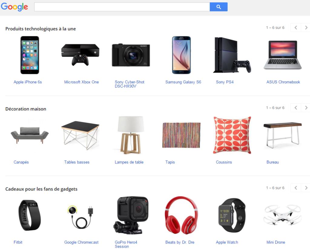 Exemple de présentation Google Shopping