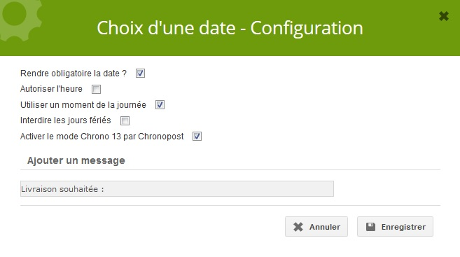 Extension choix d'une date - Extension weeStore