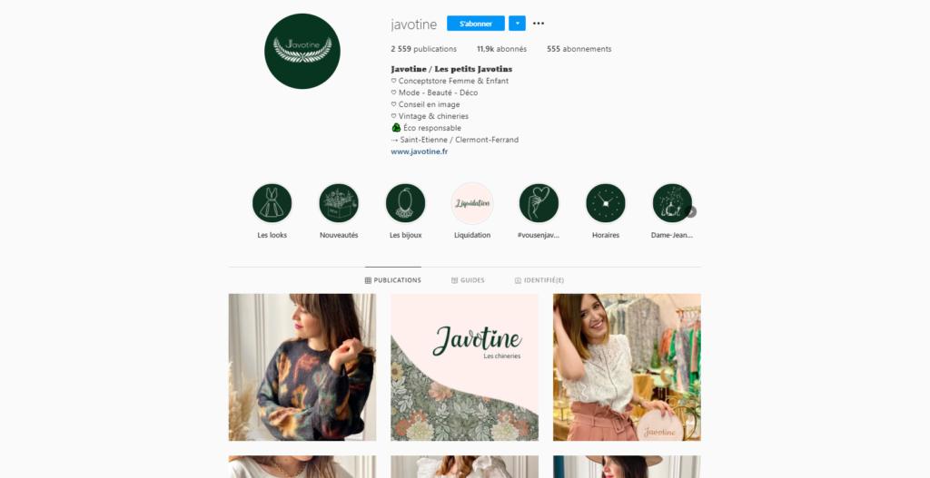 Compte Instagram Javotine